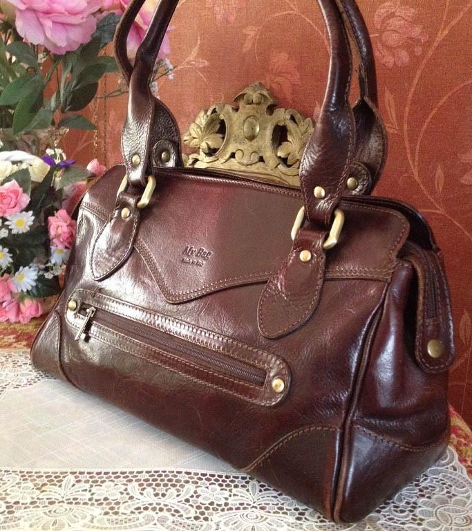 063592f1e02 Vintage Italiaans leren dames tas/handtas 100% Echt leer - roodbruin ...