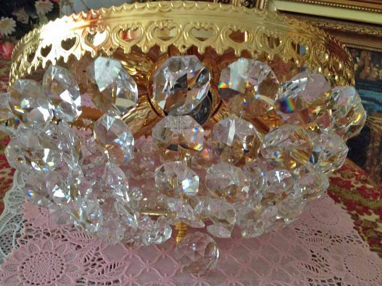 Kristallen Plafonniere : Vintage kristallen lamp plafondlamp plafonnière goud