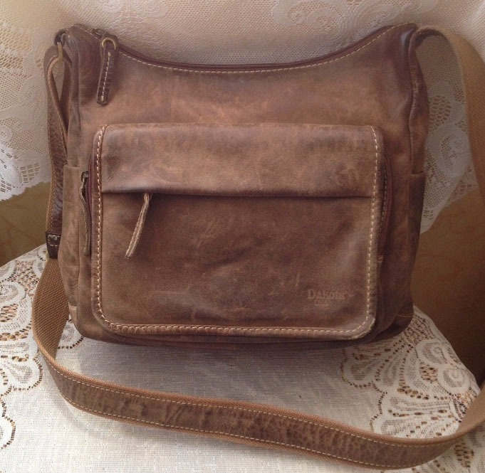 ed7686f1032 Vintage dames leren schoudertas Dakota USA Outdoor cowboy bag/cowboysbag -  bruin