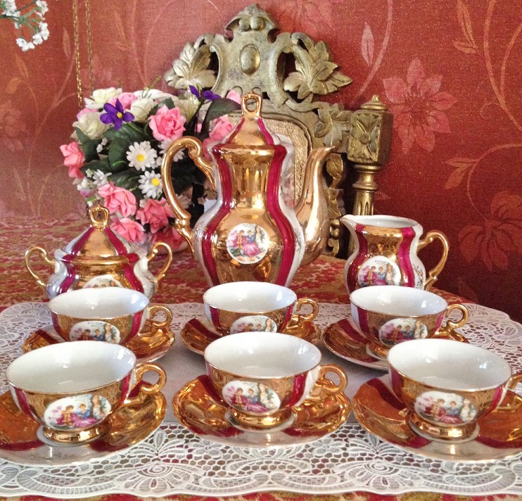 Compleet Porselein Servies.Retro Vintage Porselein Mokka Mocca Thee Servies Antieke Dresden